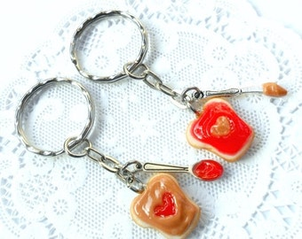 ON SALE Peanut Butter and Jelly Heart Keychain Set, Strawberry, With Knife & Spoon, Best Friend's Keychains, Cute :D