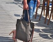Khaki Canvas Schultertasche, Umhängetasche, Handtasche, Laptop Tasche, Einkaufstasche, Damen Tasche, Herren Tasche, Wickeltasche