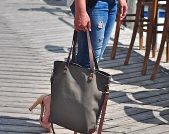 Khaki Canvas Tote Bag, Shoulder bag, Carry all Laptop Bag, Medium, Work bag, Women,Cross body, waterproof, Travel, Genuine Leather Straps
