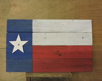 Texas Flag (#4) - recycled fence wood with distressed paint; rustic
