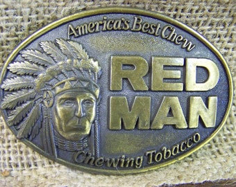 REDMAN Belt Buckle Brass RedMan Belt Buckle Chewing Tobacco Buckle