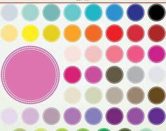 SALE Digital Polka Dot Clip Art Frames Circles- 48 Seals - ClipArt Scrapbooking Commercial Instant Download & Printable G7517