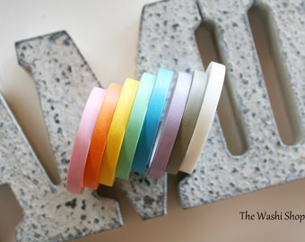 Thin Solid Pastel Washi Tape Set of 8 (7mm x 5m)