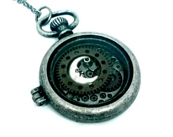 Moon Locket Watchcase With Gears Necklace Handmade Gift