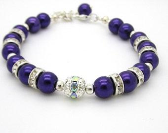 Plum Pearl  Bracelet, Bridesmaid Bracelet,  Sangria Bridesmaid Jewellery, Dark Purple Wedding, Bridal Party Gifts, Pearl Wedding Sets,