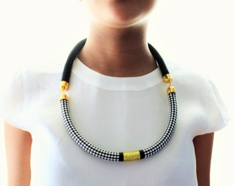 Black and White Brass Gold Statement Marine Cord Necklace