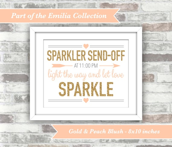 PRINTABLE Digital File - EMILIA Collection - Personalised Sparkler Send Off Wedding Sign - Let Love Sparkle - Gold and Peach-Blush - 8x10