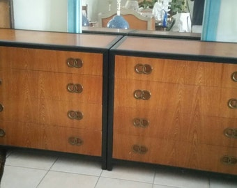 Mid Century Modern Michael Taylor for Baker Furniture Pair Chests Brass Accents Hollywood Regency Bachelor Chests Vintage