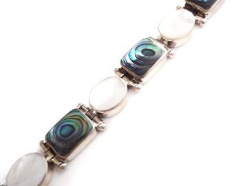 Mother of Pearl Paua Silver Bracelet,  Sterling Link Bracelet, Sajen Beaded Bangle, Vintage Shell High Fashion Jewelry
