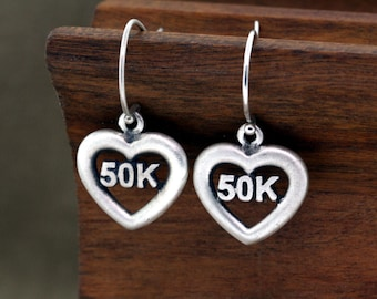 50K Earrings, 50K Ultra Jewelry, Ultra Earrings, 50K, Running Jewelry, Running Earrings, Trail Running, 50k Ultra Earrings, Ultra Marathon