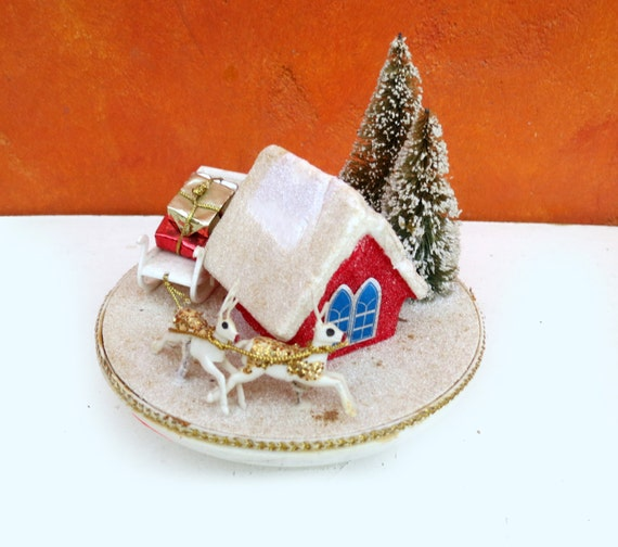Vintage 1950s 1960s Japan Moving Christmas Holiday Music Box - Jingle Bells. Retro modern holiday decor. Reindeer Sleigh North Pole