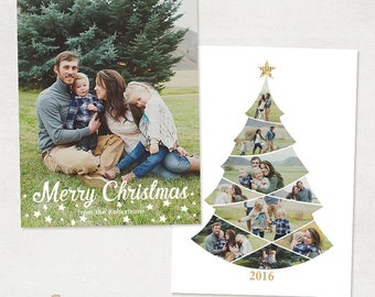 Christmas Card Template - for Photographers and Personal Use - 5x7 Holidays Photo card Template - Christmas Tree -031 - ID251
