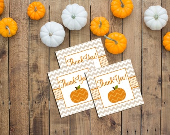 Favor Tags - Little Pumpkin Theme - Fall Baby Shower - Tan and Orange - Chevron Stripes - INSTANT DOWNLOAD - Printable