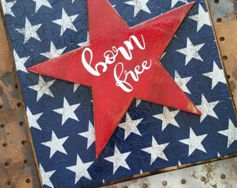 Born free pallet wood sign red white and blue patriotic 4th of July stars