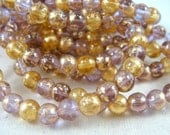 6mm Druk Beads - Purple and Gold Venetian Mix (D021) - Qty 25