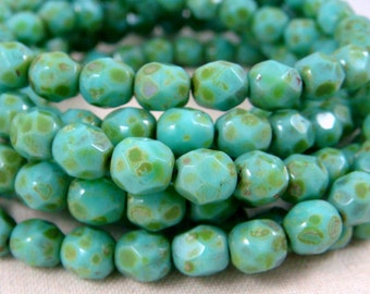 Czech Beads, 6mm Czech Fire Polished Beads, Picasso Beads, 6mm Faceted Round Beads - Turquoise Picasso (FP6/N-094g) - Qty 30
