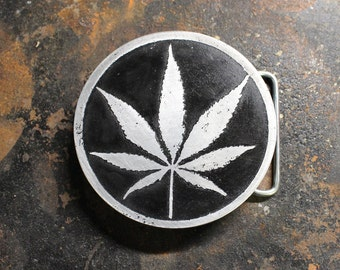 Weed, Marijuana, Belt Buckle, Aluminum Belt Buckle, Custom Made, Etched Metal, Made In USA, Gonja, Herb, Plant