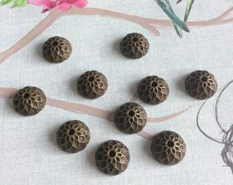 Antique Brass Acorn Bead Caps x 20