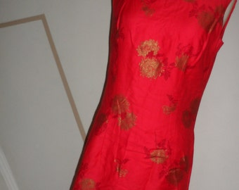 1950s chinese asian wiggle dress  bombshell floral gold  metallic pattern small smaller meds