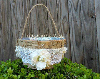 Birch Bark Basket, Flower Girl Basket, Wedding Basket,Birch Bark Flower Girl Basket, Birch Bark,Rustic Wedding Flower Basket,Burlap and Lace