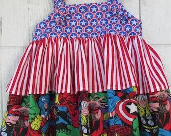 Marvel Superheroes Sundress Jumper / Dress  Knot Jumper  Size 2  Girls Sundress