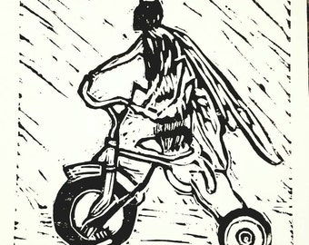 "Bee Riding a Bicycle original limited edition linoleum cut print 8"" x 6"""