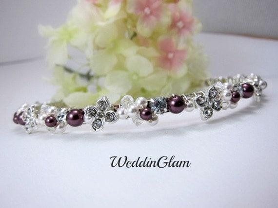 Crystal Burgundy wedding headband, bridal hair accessories, ivory Burgundy flower headband,wedding headband, flowergirl headband