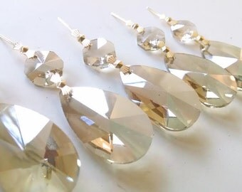 10 Champagne Teardrops European Cut Chandelier Crystals Prisms