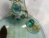 Wedding Invitation Keepsake Flattened Bottle Glass Tray w/ Knife