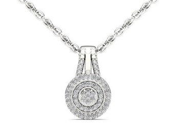 10Kt White Gold Diamond Halo Pendant