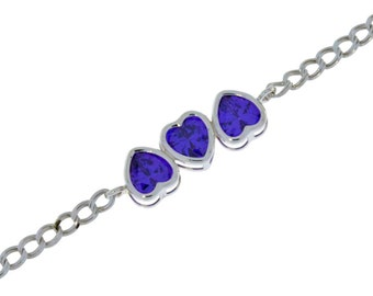 3 Ct Amethyst Heart Bezel Bracelet .925 Sterling Silver