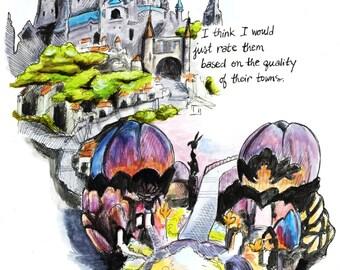 Bravely Default Towns - 11x14 original comic
