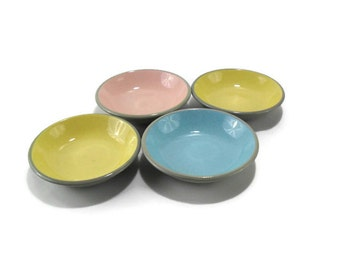 Harkerware Berry Bowls * Set of 4 * French Yellow * Shell Pink * Blue Mist * Dove Grey