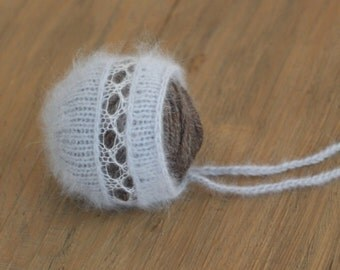 Angora bonnet lace newborn bonnet knit newborn photo prop
