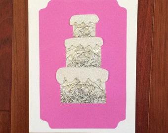 Iris Folded Wedding Cake Card