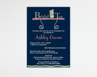 Bridal Tea Shower Invitation, Bridal Luncheon, Bridesmaids Tea, digital, printable, invite, BW8141