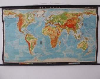 Original Vintage World Map - Large Wall Map of The World Poster - Authentic Vintage German School Map Mid Century