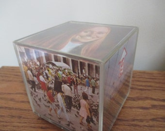 Vintage musical photo block cube display for instamatic photos