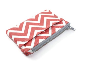 Coral and White Chevron Coin Purse / Zip pouch / Change Purse / Business Card Holder / Wallet