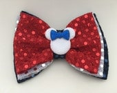 3 Layer Patriotic Minnie Bow White Silver Center Layer with White Minnie Head READY TO SHIP
