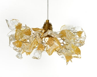 Ceiling Light fixtures flowers and leaves with gold and clear color, for living rooms,Kitchen island, hall elegant and nurture light.