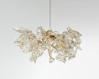 Transparent Clear hanging Chandelier flowers and leaves for bedside or hallway, elegant pendant light
