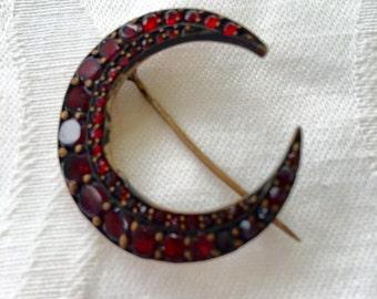 Bohemian Garnet Brooch Crescent Moon  Czech Victorian Pin