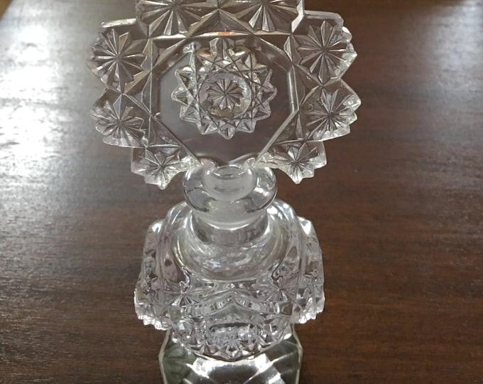 Vintage Czech Perfume Bottle, Czech Glass, Star and Daisy Design, Elegant Vanity Piece