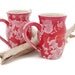 Red Coffee Mugs with White Crystals for the Makeforgood Fundraiser
