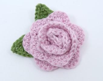Large pale pink crochet rose brooch (2 1/2 ins diameter excluding leaves)