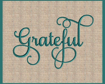 Word Grateful Thanksgiving Embroidery Design Blessed Script Font Embroidery Design Script Font Embroidery Design