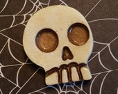 Skull Brooch, Faux Antique Patina, Gold Eyes, Hand Painted Resin, Creepy Brooch, Spooky Jewelry, Skeleton Pin, Custom Requests Welcome