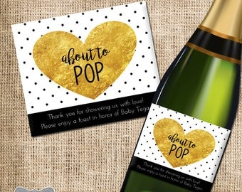 Shower Hostess Gift, Baby Shower Thank You, Gift for Hosting Baby Shower, Champagne Label, Wine Gift for Shower, Thank You Champagne Label
