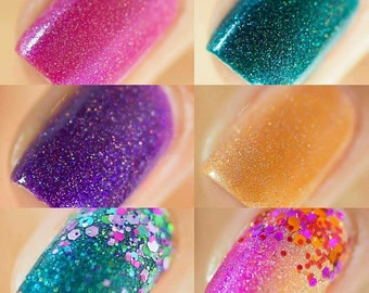 Full Warm and Cool Tone Gradient Collection - Full Size or Mini Glitter Nail Polish